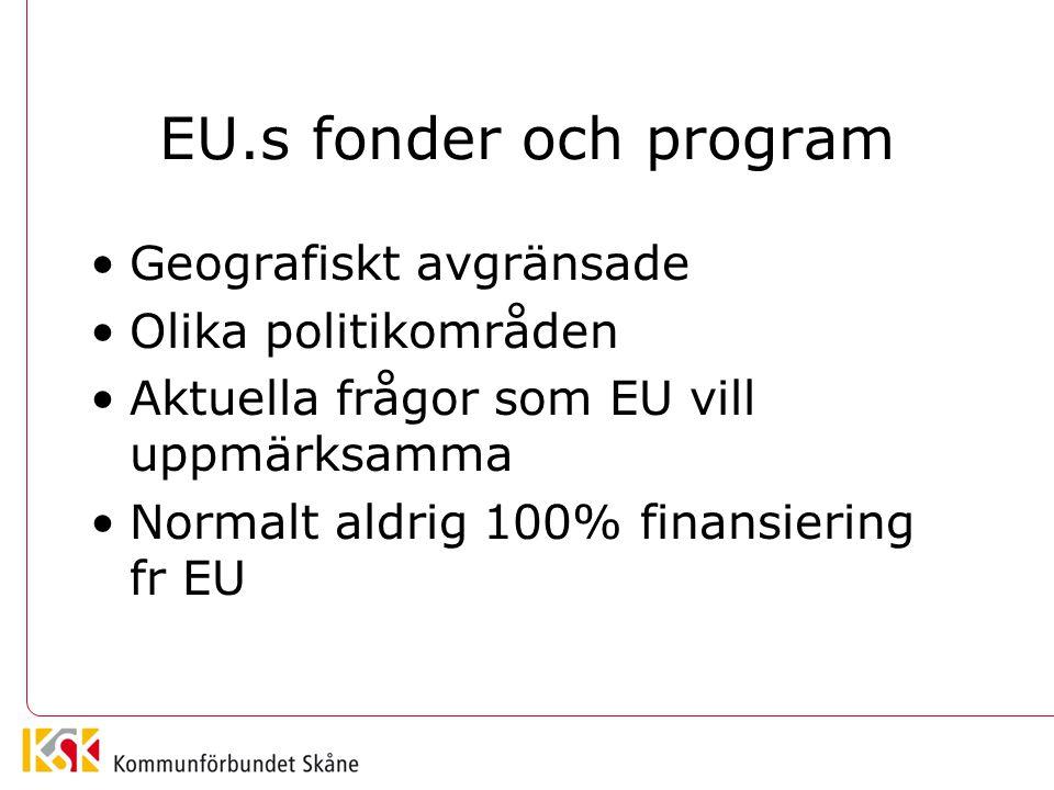 EU.s fonder och program Geografiskt avgränsade Olika politikområden Aktuella frågor som EU vill uppmärksamma Normalt aldrig 100% finansiering fr EU