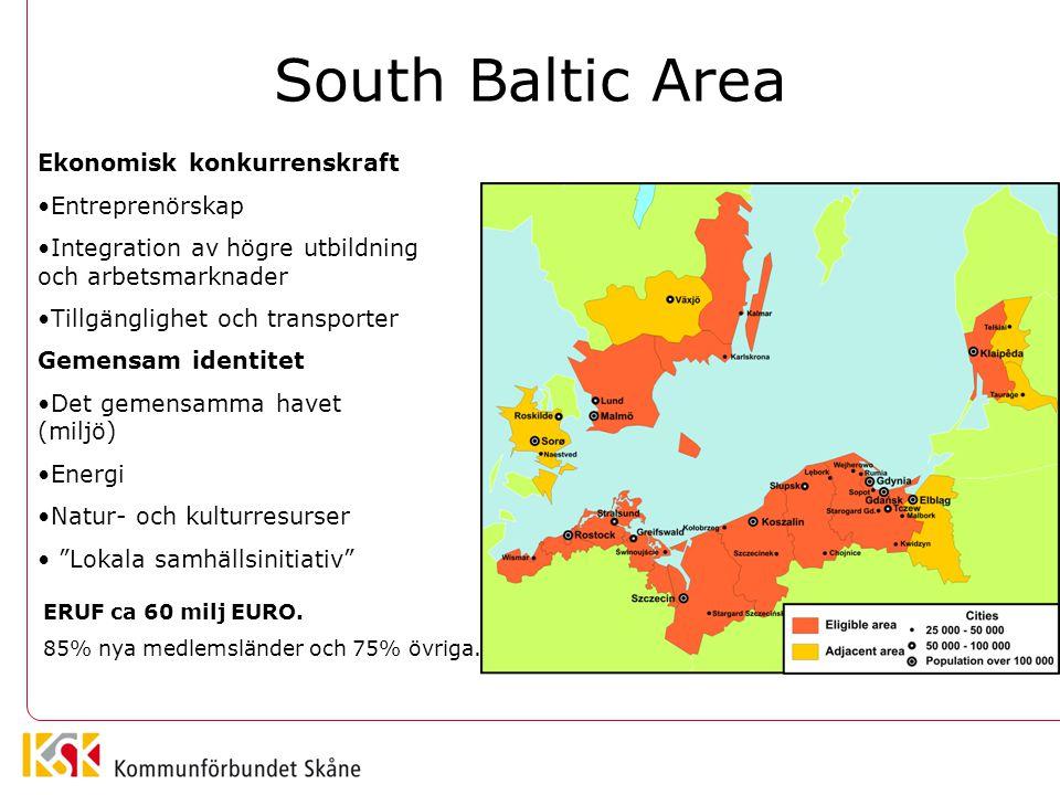 South Baltic Area Ekonomisk konkurrenskraft Entreprenörskap Integration av högre utbildning och arbetsmarknader Tillgänglighet och transporter Gemensa