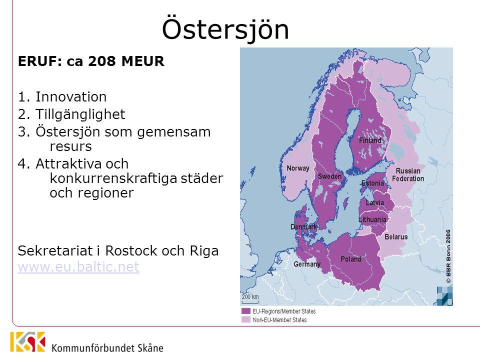 Östersjön ERUF: ca 208 MEUR 1. Innovation 2. Tillgänglighet 3. Östersjön som gemensam resurs 4. Attraktiva och konkurrenskraftiga städer och regioner