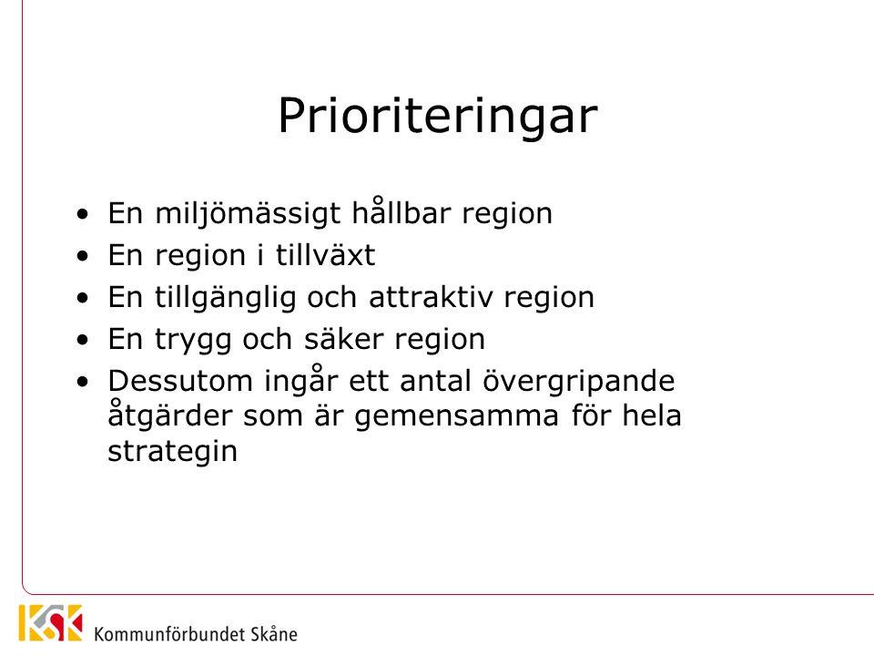 Prioriteringar En miljömässigt hållbar region En region i tillväxt En tillgänglig och attraktiv region En trygg och säker region Dessutom ingår ett an