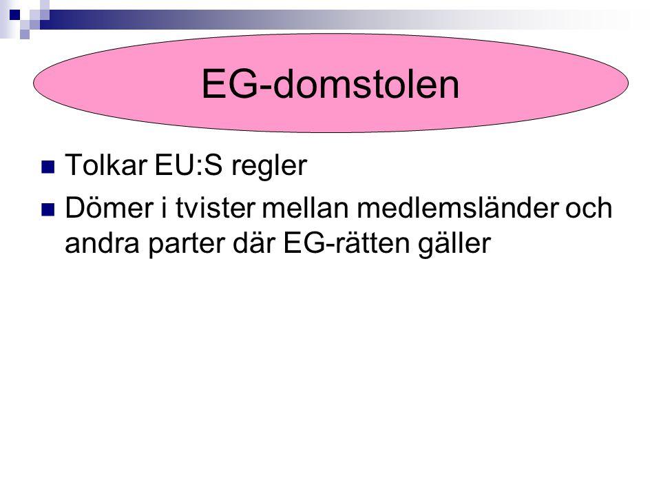 Tolkar EU:S regler Dömer i tvister mellan medlemsländer och andra parter där EG-rätten gäller EG-domstolen