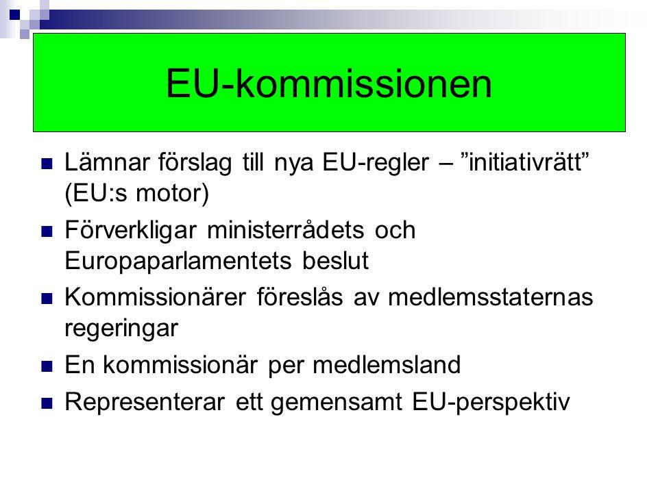 """Lämnar förslag till nya EU-regler – """"initiativrätt"""" (EU:s motor) Förverkligar ministerrådets och Europaparlamentets beslut Kommissionärer föreslås av"""