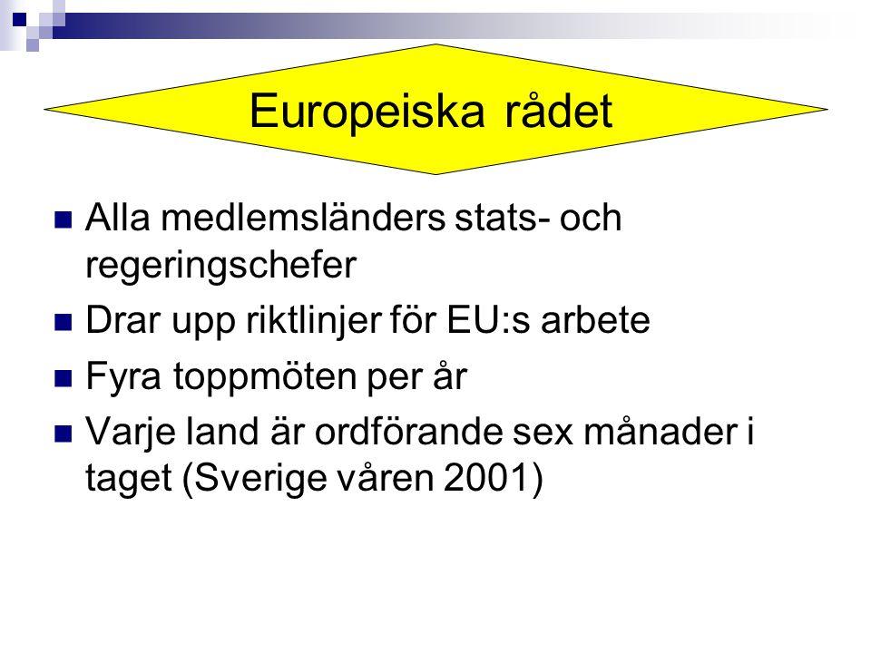 Alla medlemsländers stats- och regeringschefer Drar upp riktlinjer för EU:s arbete Fyra toppmöten per år Varje land är ordförande sex månader i taget