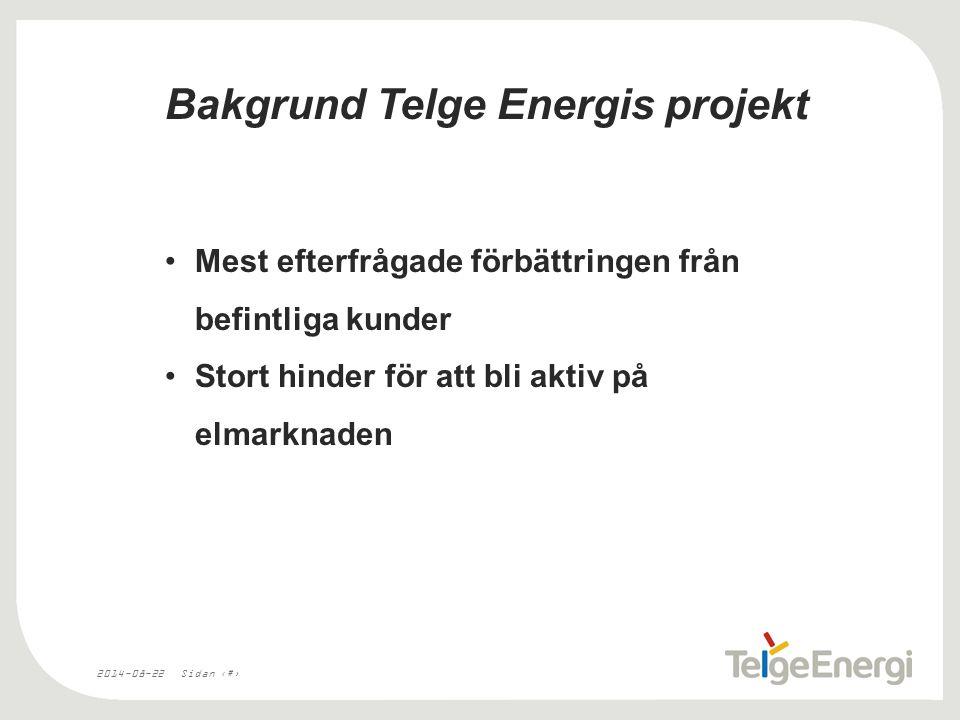 2014-08-22Sidan 2 Bakgrund Telge Energis projekt Mest efterfrågade förbättringen från befintliga kunder Stort hinder för att bli aktiv på elmarknaden