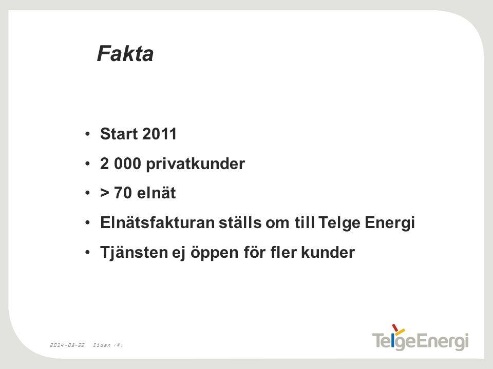 2014-08-22Sidan 3 Fakta Start 2011 2 000 privatkunder > 70 elnät Elnätsfakturan ställs om till Telge Energi Tjänsten ej öppen för fler kunder