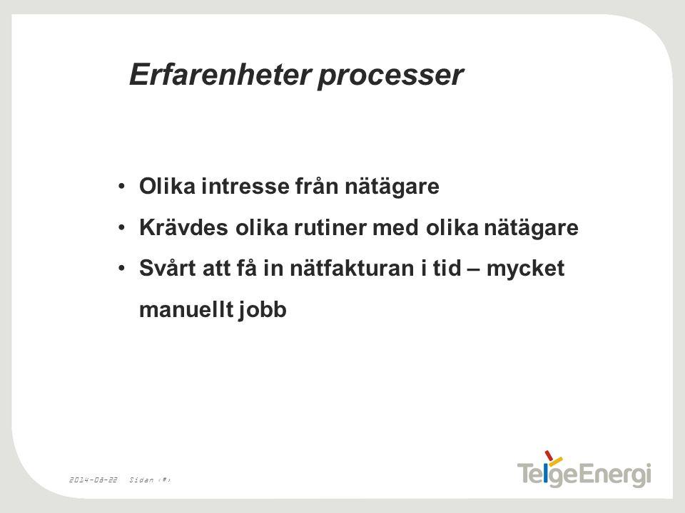 2014-08-22Sidan 4 Erfarenheter processer Olika intresse från nätägare Krävdes olika rutiner med olika nätägare Svårt att få in nätfakturan i tid – mycket manuellt jobb