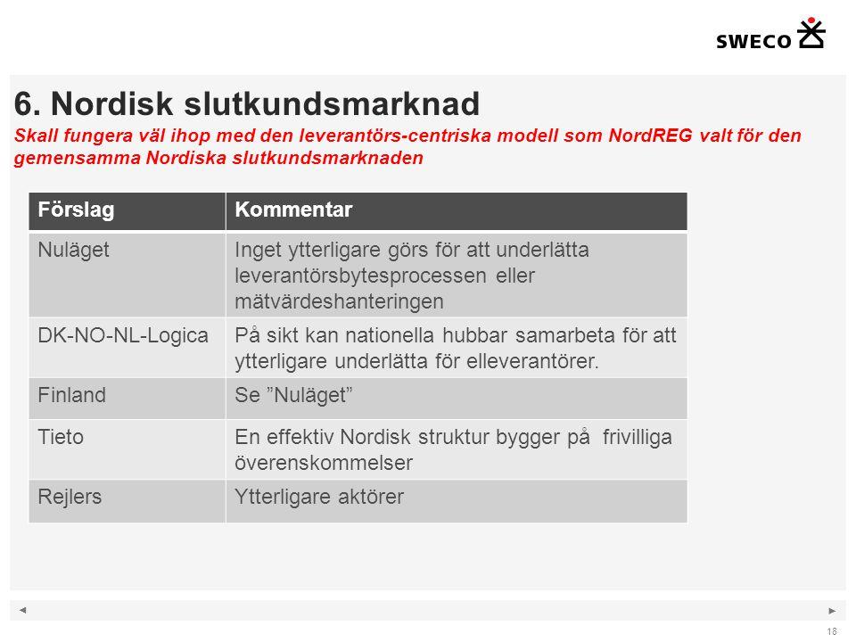 ◄ ► 6. Nordisk slutkundsmarknad Skall fungera väl ihop med den leverantörs-centriska modell som NordREG valt för den gemensamma Nordiska slutkundsmark