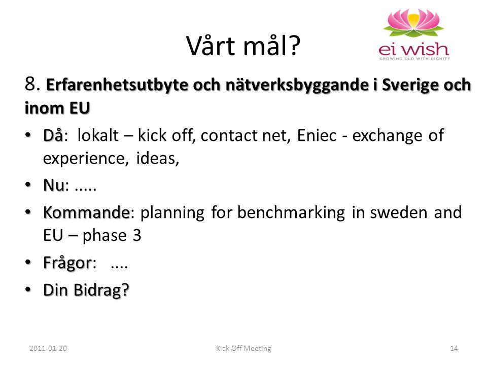 Erfarenhetsutbyte och nätverksbyggande i Sverige och inom EU 8.