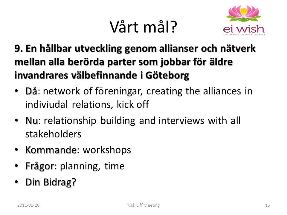 9. En hållbar utveckling genom allianser och nätverk mellan alla berörda parter som jobbar för äldre invandrares välbefinnande i Göteborg Då Då: netwo