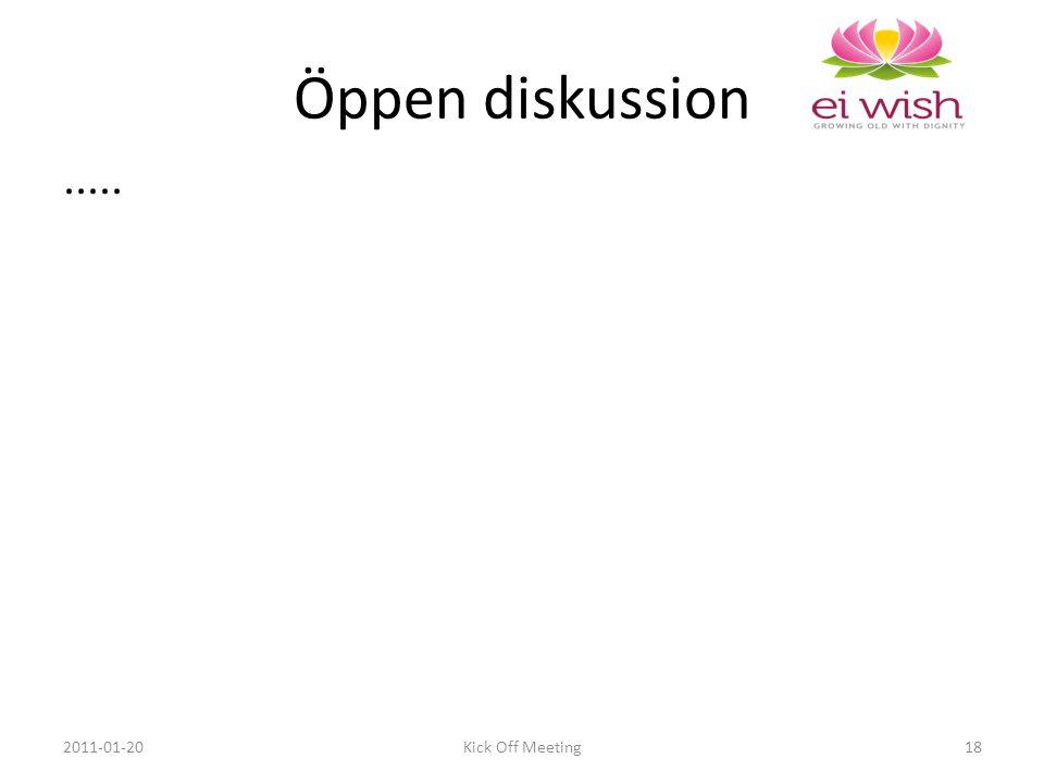 ..... 2011-01-20Kick Off Meeting18 Öppen diskussion