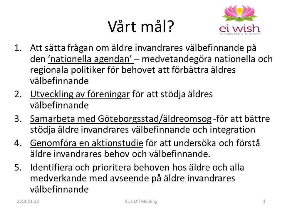 1.Att sätta frågan om äldre invandrares välbefinnande på den 'nationella agendan' – medvetandegöra nationella och regionala politiker för behovet att förbättra äldres välbefinnande 2.Utveckling av föreningar för att stödja äldres välbefinnande 3.Samarbeta med Göteborgsstad/äldreomsog -för att bättre stödja äldre invandrares välbefinnande och integration 4.Genomföra en aktionstudie för att undersöka och förstå äldre invandrares behov och välbefinnande.