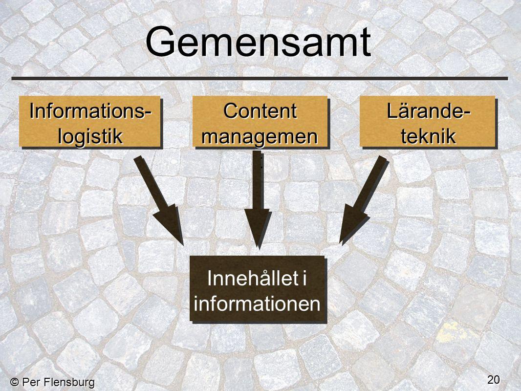 © Per Flensburg 20 Gemensamt Informations- logistik Informations- logistik Content managemen t Lärande- teknik Innehållet i informationen