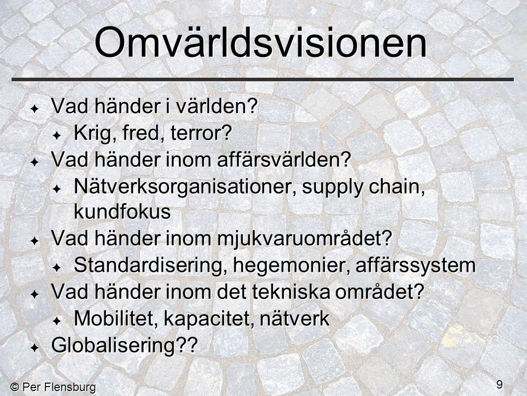 © Per Flensburg 10 Utgångsläge Industrisamhället ersätts med ett kunskapssamhälle.