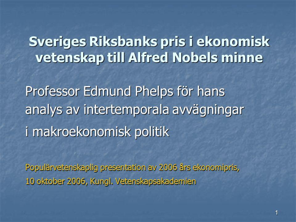 1 Sveriges Riksbanks pris i ekonomisk vetenskap till Alfred Nobels minne Professor Edmund Phelps för hans analys av intertemporala avvägningar i makro