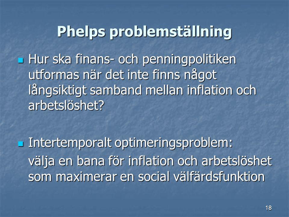 18 Phelps problemställning Hur ska finans- och penningpolitiken utformas när det inte finns något långsiktigt samband mellan inflation och arbetslöshe