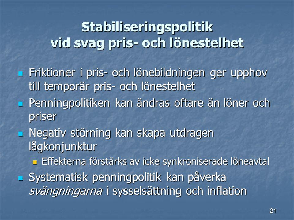 21 Stabiliseringspolitik vid svag pris- och lönestelhet Friktioner i pris- och lönebildningen ger upphov till temporär pris- och lönestelhet Friktione