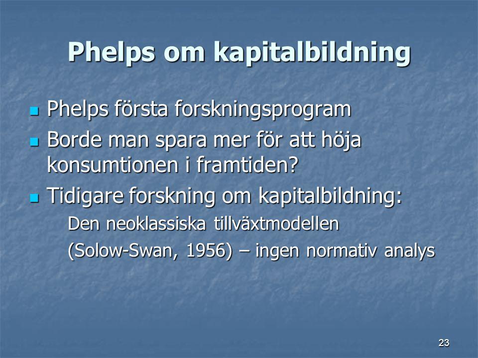 23 Phelps om kapitalbildning Phelps första forskningsprogram Phelps första forskningsprogram Borde man spara mer för att höja konsumtionen i framtiden