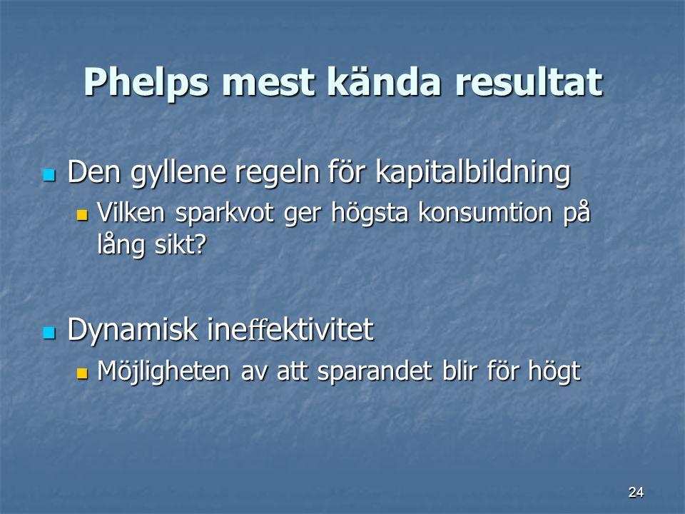 24 Phelps mest kända resultat Den gyllene regeln för kapitalbildning Den gyllene regeln för kapitalbildning Vilken sparkvot ger högsta konsumtion på l