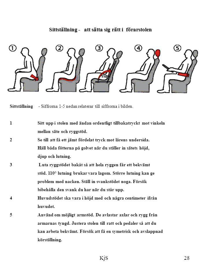 KjS28 Sittställning - att sätta sig rätt i förarstolen Sittställning - Siffrorna 1-5 nedan relaterar till siffrorna i bilden. 1 Sitt upp i stolen med