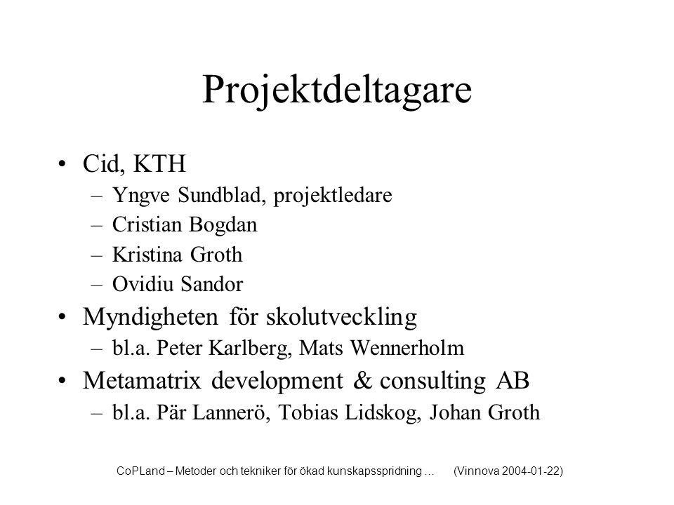 Projektdeltagare Cid, KTH –Yngve Sundblad, projektledare –Cristian Bogdan –Kristina Groth –Ovidiu Sandor Myndigheten för skolutveckling –bl.a. Peter K