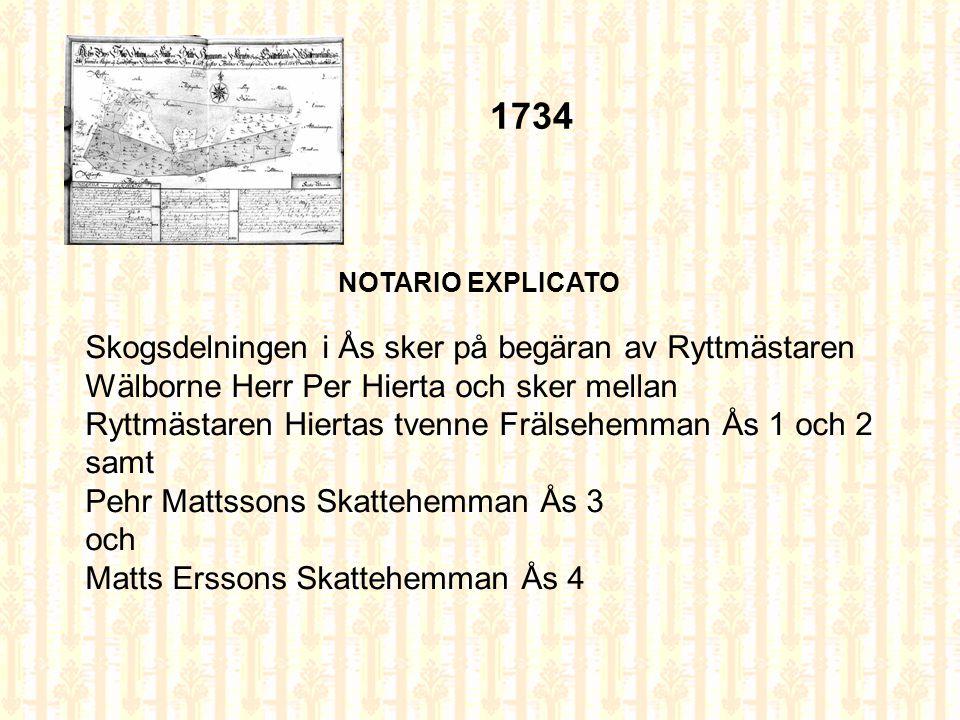 Charta öfwer Skogsdelningen på Gagnön och en del af Mattön, belägne uti Gefleborgs Län, Gästrikland och Fernebo Sockn, mellan Grannarne uti Åhs By förrättad år 1774 af August von Lehausen Åhs 1774