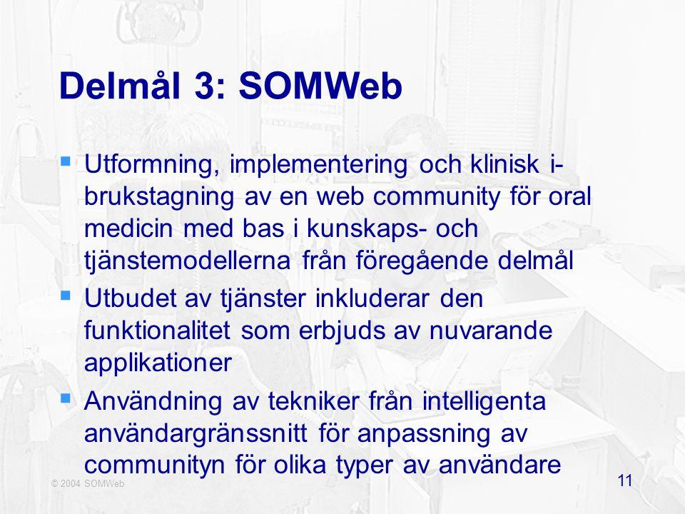 © 2004 SOMWeb 11 Delmål 3: SOMWeb  Utformning, implementering och klinisk i- brukstagning av en web community för oral medicin med bas i kunskaps- och tjänstemodellerna från föregående delmål  Utbudet av tjänster inkluderar den funktionalitet som erbjuds av nuvarande applikationer  Användning av tekniker från intelligenta användargränssnitt för anpassning av communityn för olika typer av användare