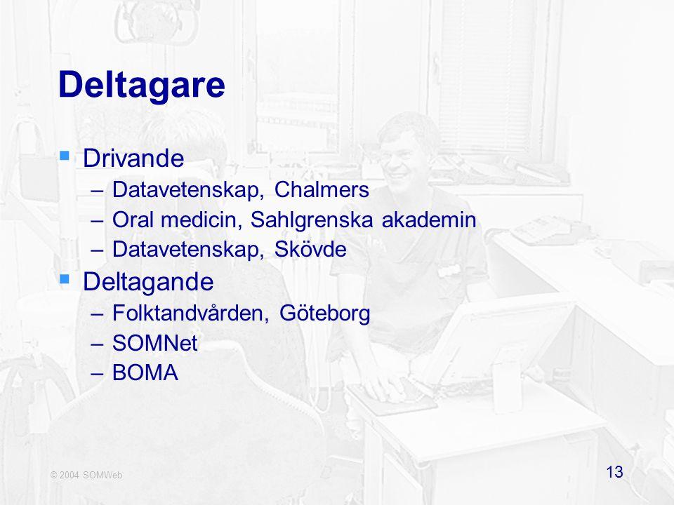 © 2004 SOMWeb 13 Deltagare  Drivande –Datavetenskap, Chalmers –Oral medicin, Sahlgrenska akademin –Datavetenskap, Skövde  Deltagande –Folktandvården