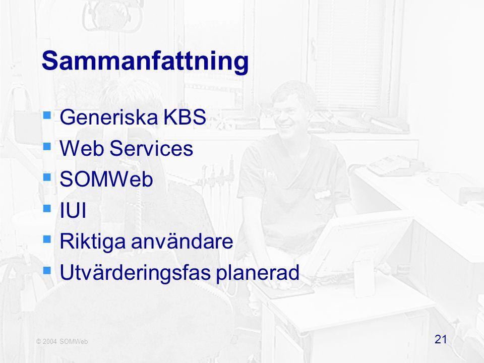 © 2004 SOMWeb 21 Sammanfattning  Generiska KBS  Web Services  SOMWeb  IUI  Riktiga användare  Utvärderingsfas planerad