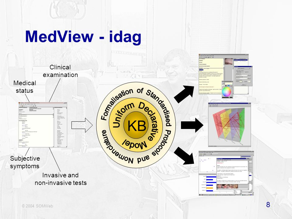 © 2004 SOMWeb 8 MedView - idag KB Medical status Clinical examination Subjective symptoms Invasive and non-invasive tests
