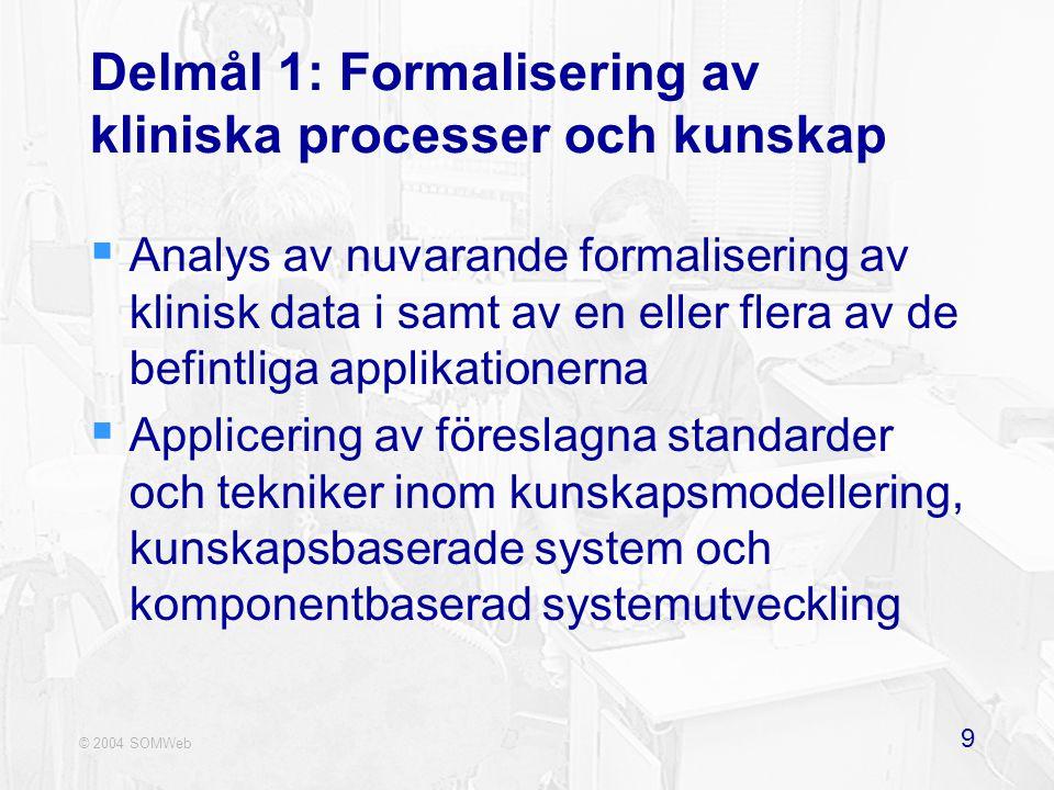 © 2004 SOMWeb 9 Delmål 1: Formalisering av kliniska processer och kunskap  Analys av nuvarande formalisering av klinisk data i samt av en eller flera av de befintliga applikationerna  Applicering av föreslagna standarder och tekniker inom kunskapsmodellering, kunskapsbaserade system och komponentbaserad systemutveckling
