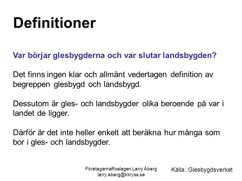 FöretagarnaRoslagen Larry Åberg larry.aberg@kkryss.se Definitioner Var börjar glesbygderna och var slutar landsbygden? Det finns ingen klar och allmän