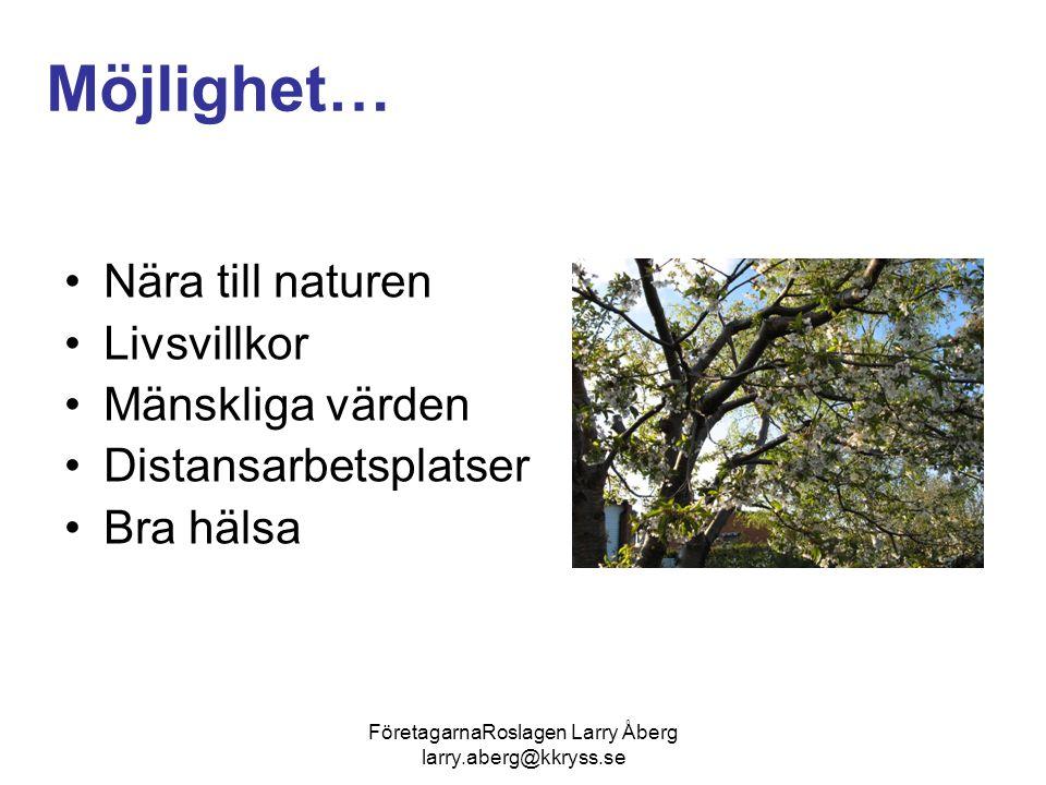 FöretagarnaRoslagen Larry Åberg larry.aberg@kkryss.se Möjlighet… Nära till naturen Livsvillkor Mänskliga värden Distansarbetsplatser Bra hälsa