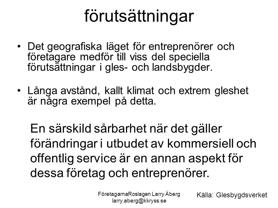 FöretagarnaRoslagen Larry Åberg larry.aberg@kkryss.se förutsättningar Det geografiska läget för entreprenörer och företagare medför till viss del speciella förutsättningar i gles- och landsbygder.