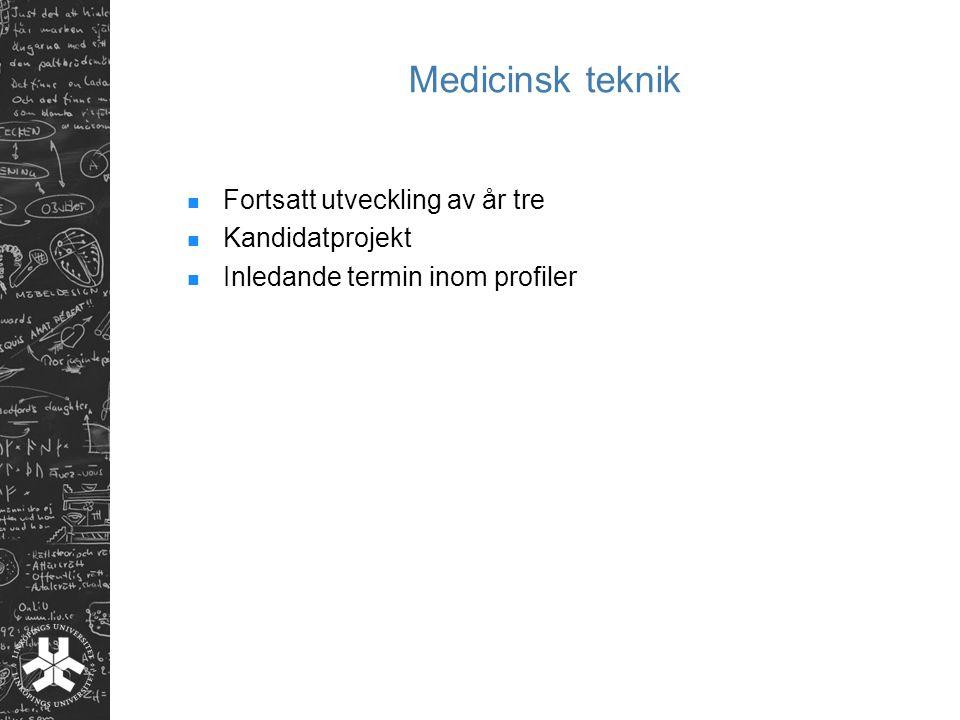 Medicinsk teknik Fortsatt utveckling av år tre Kandidatprojekt Inledande termin inom profiler