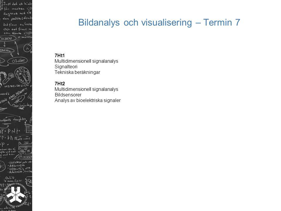 Bildanalys och visualisering – Termin 7 7Ht1 Multidimensionell signalanalys Signalteori Tekniska beräkningar 7Ht2 Multidimensionell signalanalys Bilds