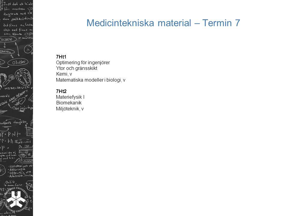 Medicintekniska material – Termin 7 7Ht1 Optimering för ingenjörer Ytor och gränsskikt Kemi, v Matematiska modeller i biologi, v 7Ht2 Materiefysik I B