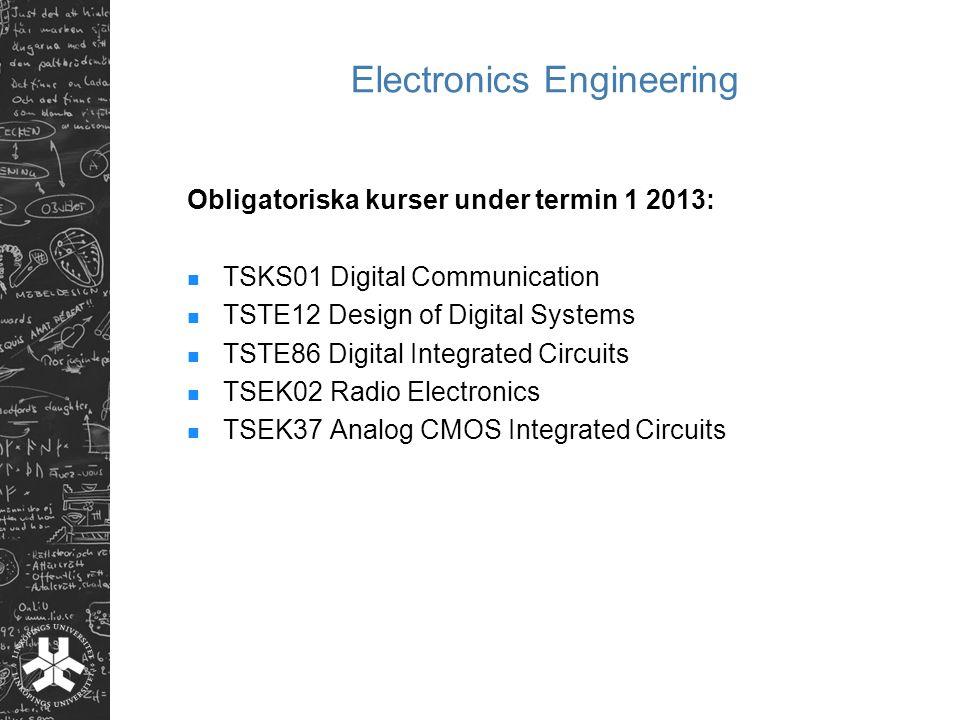 Electronics Engineering Obligatoriska kurser under termin 1 2013: TSKS01 Digital Communication TSTE12 Design of Digital Systems TSTE86 Digital Integra