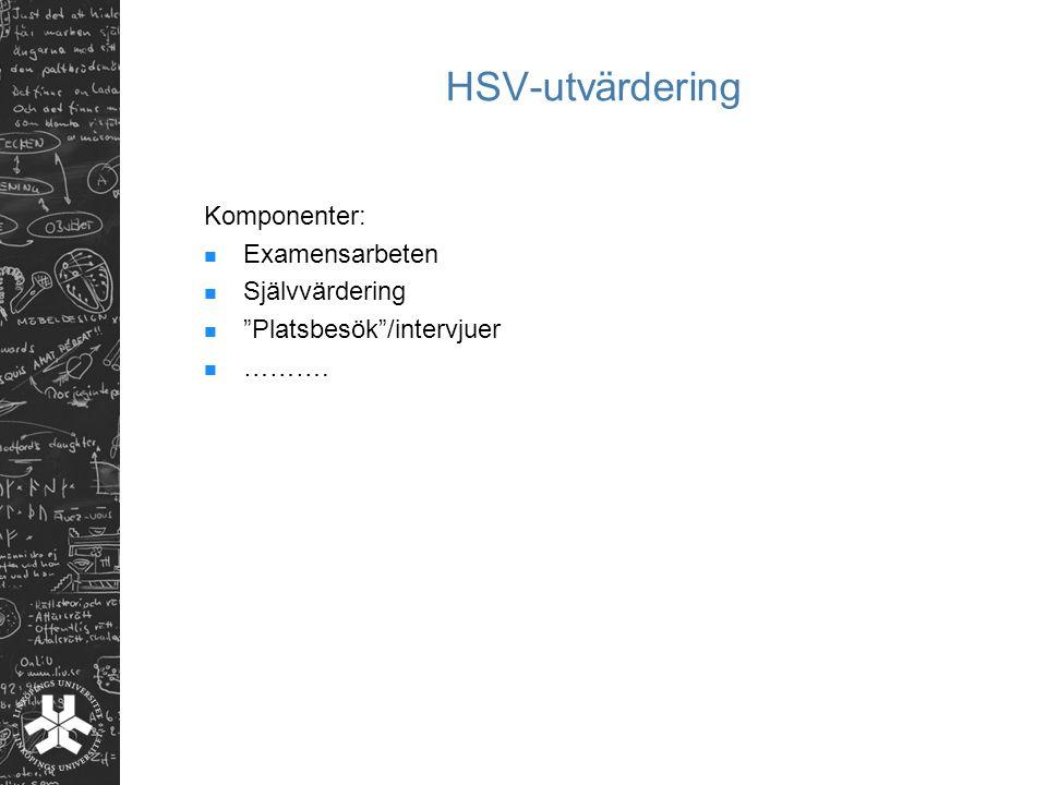 """HSV-utvärdering Komponenter: Examensarbeten Självvärdering """"Platsbesök""""/intervjuer ………."""