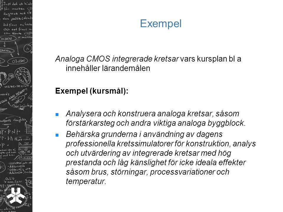 Exempel Analoga CMOS integrerade kretsar vars kursplan bl a innehåller lärandemålen Exempel (kursmål): Analysera och konstruera analoga kretsar, såsom