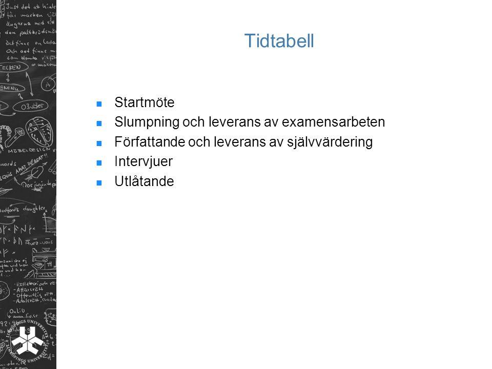 Tidtabell Startmöte Slumpning och leverans av examensarbeten Författande och leverans av självvärdering Intervjuer Utlåtande