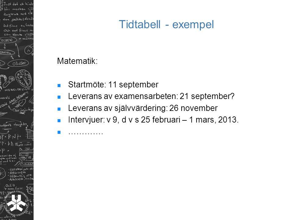 Tidtabell - exempel Matematik: Startmöte: 11 september Leverans av examensarbeten: 21 september? Leverans av självvärdering: 26 november Intervjuer: v