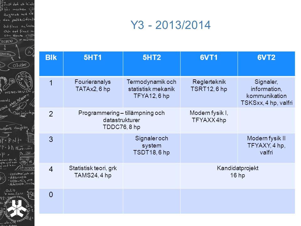 Y3 - 2013/2014 Blk5HT15HT26VT16VT2 1 Fourieranalys TATAx2, 6 hp Termodynamik och statistisk mekanik TFYA12, 6 hp Reglerteknik TSRT12, 6 hp Signaler, i