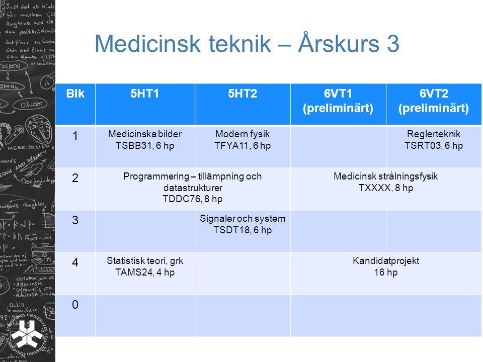 Medicinsk teknik – Årskurs 3 Blk5HT15HT26VT1 (preliminärt) 6VT2 (preliminärt) 1 Medicinska bilder TSBB31, 6 hp Modern fysik TFYA11, 6 hp Reglerteknik