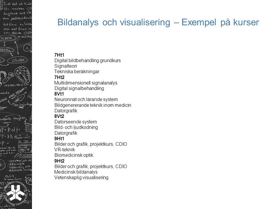 Bildanalys och visualisering – Exempel på kurser 7Ht1 Digital bildbehandling grundkurs Signalteori Tekniska beräkningar 7Ht2 Multidimensionell signala