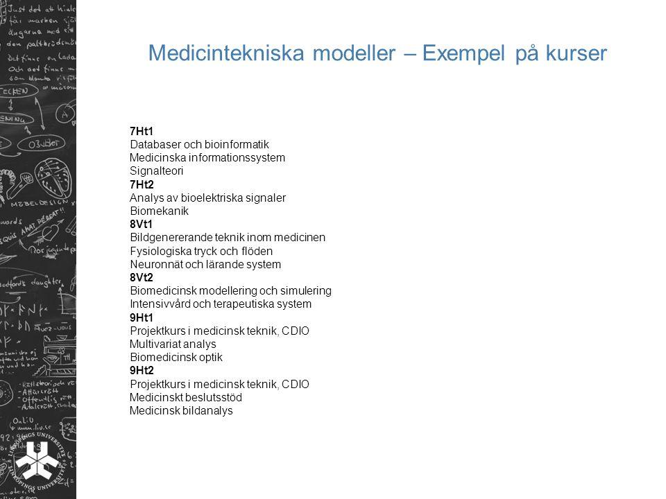 Medicintekniska modeller – Exempel på kurser 7Ht1 Databaser och bioinformatik Medicinska informationssystem Signalteori 7Ht2 Analys av bioelektriska s