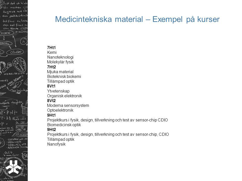 Medicintekniska material – Exempel på kurser 7Ht1 Kemi Nanoteknologi Molekylär fysik 7Ht2 Mjuka material Bioteknisk biokemi Tillämpad optik 8Vt1 Ytvet