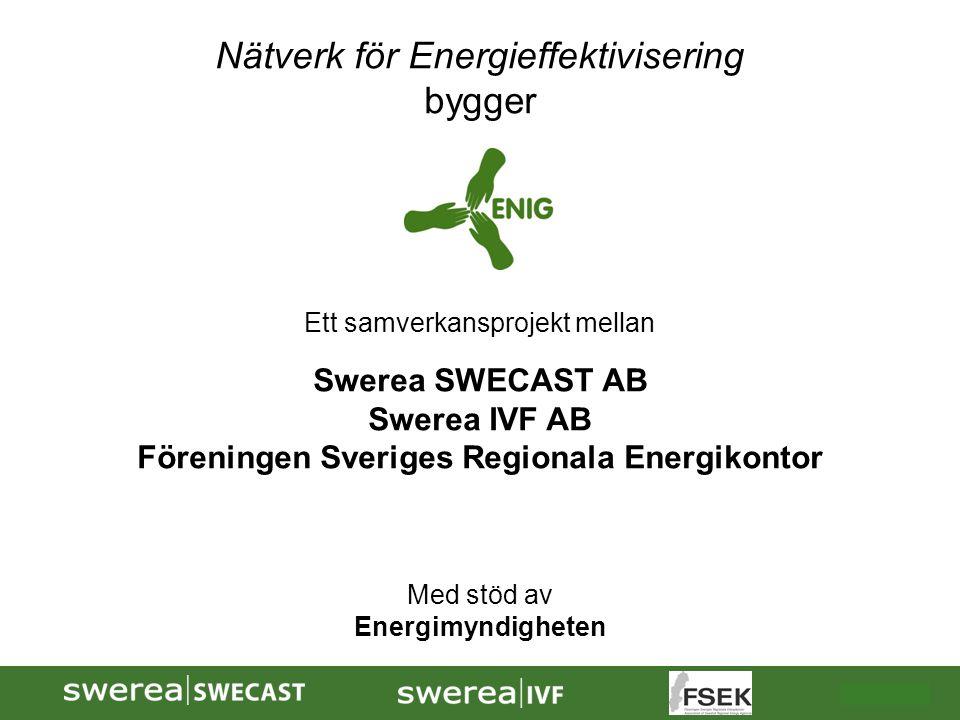 2009-10-08 Nätverk för Energieffektivisering bygger Ett samverkansprojekt mellan Swerea SWECAST AB Swerea IVF AB Föreningen Sveriges Regionala Energik