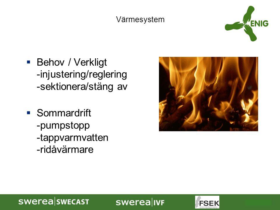  Behov / Verkligt -injustering/reglering -sektionera/stäng av  Sommardrift -pumpstopp -tappvarmvatten -ridåvärmare Värmesystem