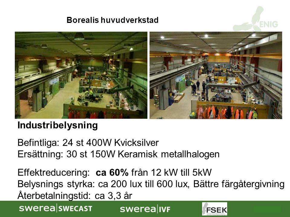 2009-10-08 Industribelysning Befintliga: 24 st 400W Kvicksilver Ersättning: 30 st 150W Keramisk metallhalogen Effektreducering: ca 60% från 12 kW till