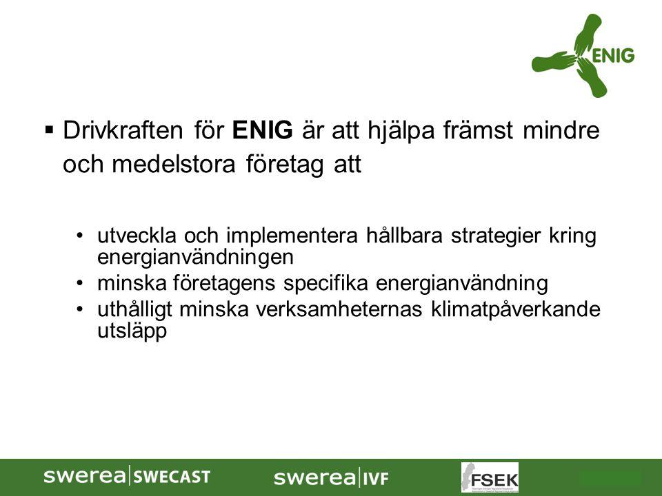 2009-10-08  Drivkraften för ENIG är att hjälpa främst mindre och medelstora företag att utveckla och implementera hållbara strategier kring energianv